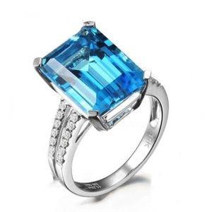 5CTW Genuine Aquamarine Ring